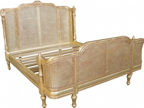 Provence Rattan Bed in Antique Gold